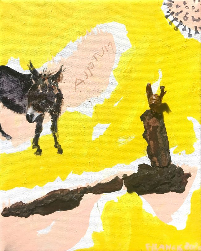 corona diary Nutella 2020 Malerei Bricolage auf Leinwand 30 x 24 cm