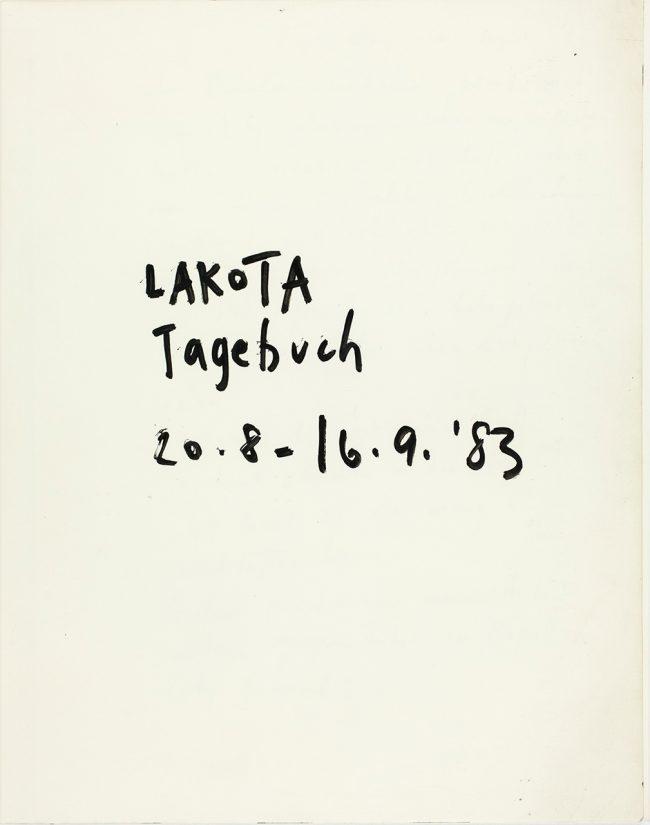Lakota Tagebuch Seite 1